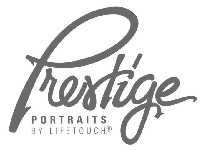 The word Prestige in big grey letters.  Underneath the word Prestige are the words Portraits by Lifetouch